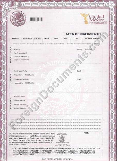 mexican marriage certificate template - certified spanish translation mexican birth certificate