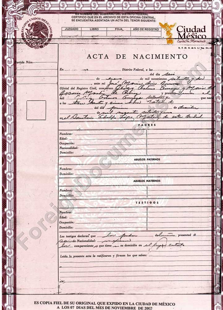 Certified Spanish Translation Mexican Birth Certificate Translation