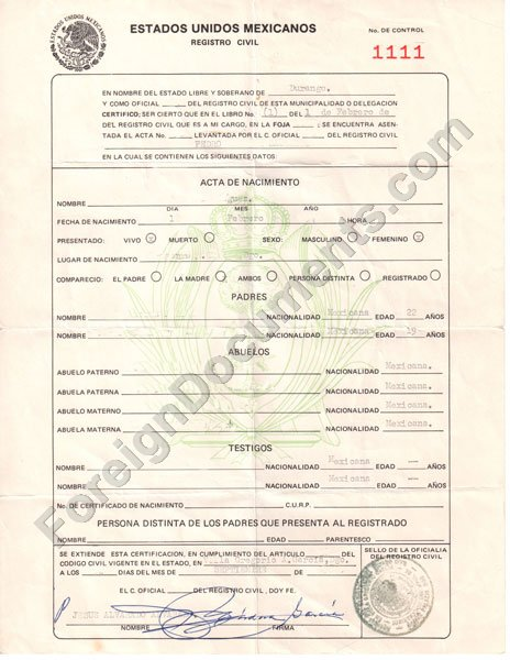 Spanish Birth Certificate Translation Of From To English