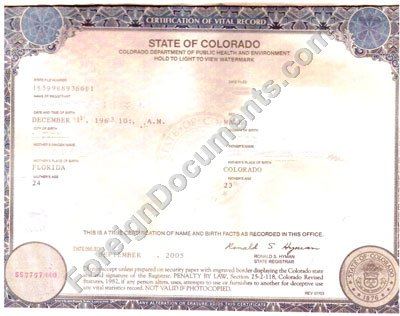 Translation of birth certificate issued in Colorado