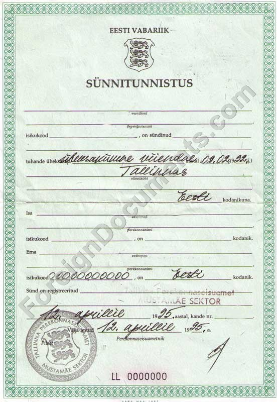 Certified translation of Birth Certificate from Estonian, Latvian ...