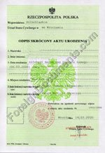 Certified translation of Birth certificate issue in Poland from Polish to English