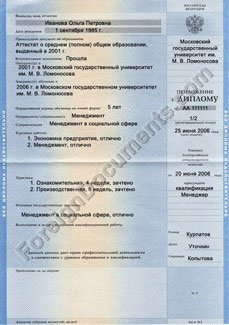Translation of Addendum to Russia Diploma