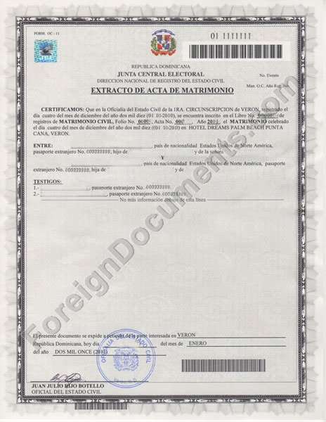 Dominican Marriage Certificate. Certified Translation