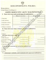 Polish certified translation of Poland marriage certificate