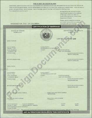 Hawaii Marriage Certificate. Translation into Russian, Ukrainian ...