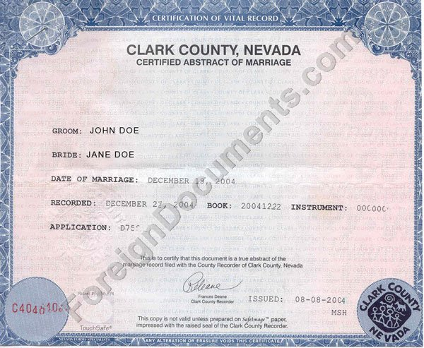 nevada certificate birth marriage document number nv