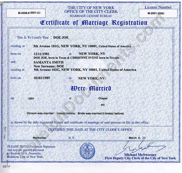 new york marriage certificate/license: getting it apostilled and